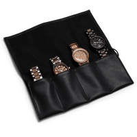 The Watch Roll/4pc - The LEATHER  WATCH ROLL (Black Leather)