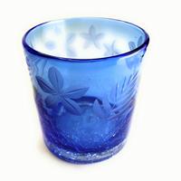 琉球ガラス x 東京切子(花切子)ロックグラス プルメリア 蒼