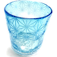 琉球ガラスx東京切子(花切子)ロックグラス 千代紙 空