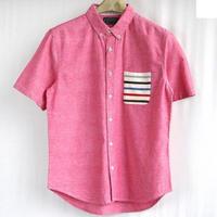 メンズ コットンダンガリー ニットポケット ボーダー 切替 半袖シャツ