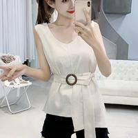 #29 linen nosleeve blouse 【 white 】