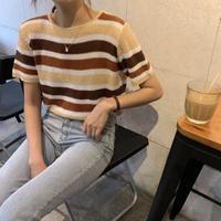 #09 stripe  sweater 【 brown 】