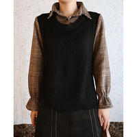 #141 チェックシャツベスト/ブラック