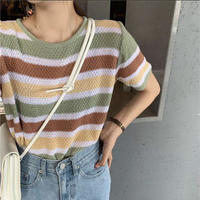 #10 stripe sweater 【 green 】