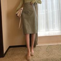#84 leather longskirt【mintgreen】