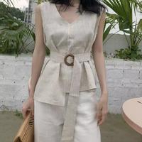 #28 linen nosleeve blouse【 beige  】