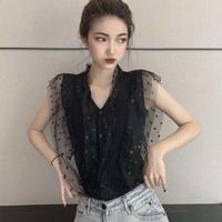 #39 dot see-through blouse 【 black 】