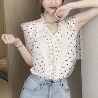 #38 dot see-through blouse 【 off-white 】