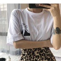 #22 monotone Girl T-shirt 【 white 】