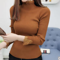 #75  lace tops 【brown】