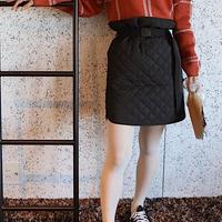 #147 キルティングスカート/ブラック
