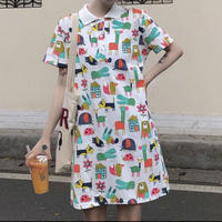 #45 colorful onepiece 【 white 】