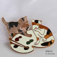 エナメル(七宝)ブローチ・パレット猫(02-303)