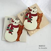 エナメル(七宝)ブローチ・雪だるまと茶トラ (02-113)
