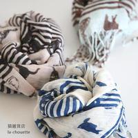 猫ボーダースカーフ
