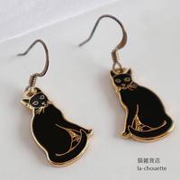 エナメル(七宝)ピアス・黒猫(02-607)