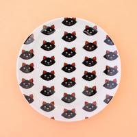 KUTANI SEAL「丸皿 黒猫/子猫整列」