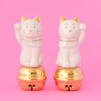 上出長右衛門窯/KUTANI CHOEMON「鈴乗り二寸ちょうえもん招猫 金白」