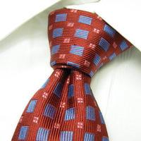 イタリア製の綺麗系カラー| CODICE UOMO |スクエア総柄ネクタイ |レッド&ブルー(赤 × 青)|シルク100%|USED|682222785860