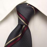 ネイビー系スーツに◎|TREND COLOR|ネクスタイル|グレー・エンジ系ストライプネクタイ【USED】0302