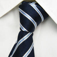 ナローカラーとの相性◎|LES MUES|パブロクリエイション|ストライプ柄ネイビーネクタイ【紺ブルー系】【USED】1121