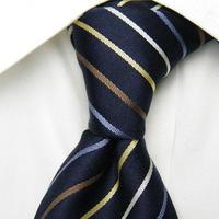 お洒落度120%UP【GROOVY STYLE】ネイビーブルー系4色ストライプネクタイ【USED】0429