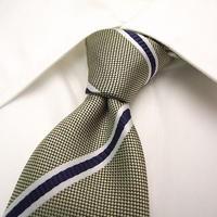 ネイビー系スーツに◎【HANECTONE】光沢グリーン系レジメンタイ【USED】【緑紺系】16-10-1