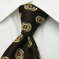 ビンテージ特集【PUEGET】織り目&デザインが素敵な総柄ネクタイ【ブラウン茶系】【USED】1221