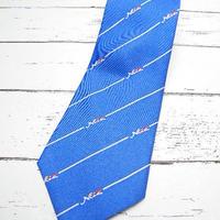 激レア【企業物】ネッツトヨタ(トヨタ自動車) Netzロゴ入り ブルー系ネクタイ|シルク100%|青×赤×白|USED