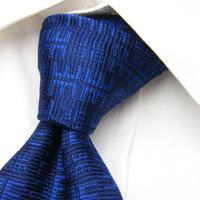 【DAVIDHICKS】レア ロゴパターンネクタイ 【USED】【ブルー紺系】151225A-5