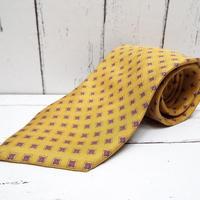 【ヴィンテージ】ARDIORE HOMME DELUXE|オレンジゴールド系小紋柄ネクタイ|シルク100%|USED|743766402083