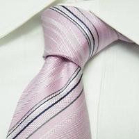 爽やかな印象を与えたいならこれ!【新品】abx(エービーエックス)ピンク&シルバー系ストライプネクタイ|シルク100%|682222774822
