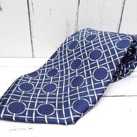 【昭和レトロ】ブルー系古典模様ネクタイ|ブルー系|日本製|シルク100%|USED|743766402083