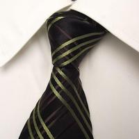 ブラックのダブルスーツに◎【MEXX(メックス)】イタリア素材+カナダ製 ブラック&グリーン(ブラウン)系クロスストライプネクタイ【USED】0302