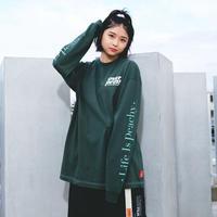 Life is peachy LS Tee (dark green)