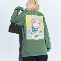 WANTED LS Tee *ONE PIECE *with古塔つみ  (olive)