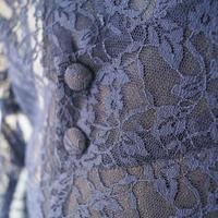 T様お取り置き中・【薄物コート】濃紺色 花文レース ポリエステル道行コート