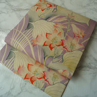 【なごや帯】藤色地 アンティーク花文 仕立て直し なごや帯