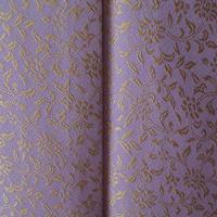 【袷】トールサイズ 浅紫色に天然黄金繭 更紗柄小紋