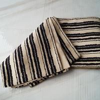 【半幅帯】モノトーン 変わりよろけ縞文 織小袋帯(半幅帯)
