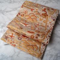 【ふくろ帯】白金色系 鶴に松竹梅に宝尽くし袋帯