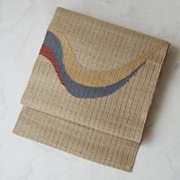 【夏なごや帯】白橡系にアースカラー抽象文 八寸なごや帯