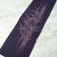 【半衿】紫色楊柳地 笹文 アンティーク半衿