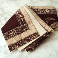 【半幅帯】焦げ茶色×砂色 ジャワ更紗 仕立ておろし半幅帯