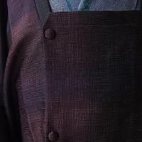 【コート】赤錆色系段暈し紬地単衣道行コート