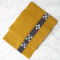 【なごや帯】金茶色系濃紺幾何学文かがり名古屋帯