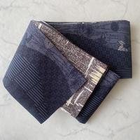 【半幅帯】茶色系×藍色系 リバーシブル 半幅帯㋺