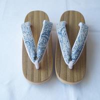 【下駄】胡麻竹 舟形台 オリジナル 欧州リネン織り地花緒
