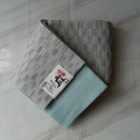 【半幅帯】灰青色格子市松柄の麻半幅帯