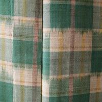 【単衣】緑色×浅黄色 格子柄 単衣着物